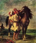 horse paintings - a moroccan saddling a horse by eugene delacroix