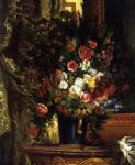 eugene delacroix a vase of flowers on a console painting 77395