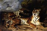 a young tiger playing with its mother by eugene delacroix painting