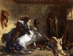 horse paintings - arab horses fighting in a stable by eugene delacroix