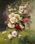 peonies and cerisiers by eugene henri cauchois painting