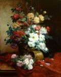 eugene henri cauchois roses and dahlias painting 82139