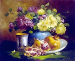 still life with pomegranate by eugene henri cauchois painting
