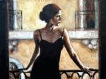 brunette at the balcony by fabian perez painting