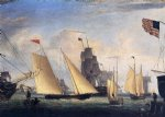 yacht northern light in boston harbor by fitz hugh lane painting