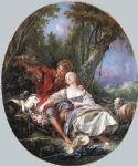 shepherd and shepherdess reposing by francois boucher painting