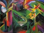 deer in a monastery garden by franz marc painting