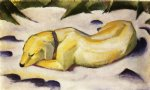 franz marc dog lying in the snow paintings