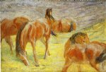 grazing horses by franz marc painting