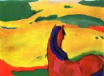 horse paintings - horse in a landscape by franz marc