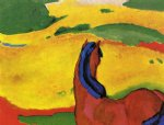 horse in a landscape by franz marc painting