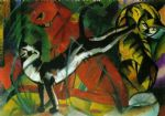 hree cats by franz marc painting