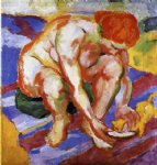 nude with cat by franz marc painting