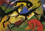 playing dogs by franz marc painting