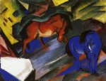 red and blue horse by franz marc painting