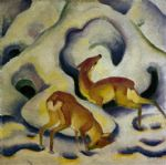 franz marc paintings - rehe im schnee by franz marc