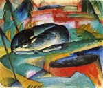 sleeping deer by franz marc painting