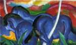 the large blue horses by franz marc painting