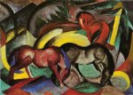 three horses by franz marc painting