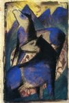 two blue horses by franz marc painting
