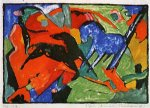 two horses ii by franz marc painting