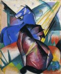 two horses red and blue by franz marc painting