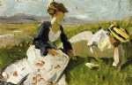 two women on the hillside sketch by franz marc painting