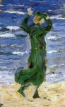 woman in the wind by the sea by franz marc painting