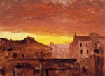 frederic edwin church rooftops at sunset rome italy painting 33916
