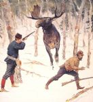 the moose hunt by frederic remington painting