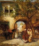 by the city gate by frederick arthur bridgeman painting