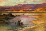 crossing an oasis with the atlas mountains in the distance morocco by frederick arthur bridgeman painting