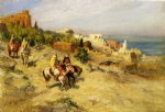 horsemen on a coastal path algiers by frederick arthur bridgeman painting