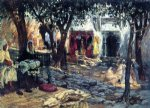 idle moments an arab courtyard by frederick arthur bridgeman painting
