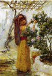 in the courtyard by frederick arthur bridgeman painting