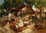 african paintings - north african market by frederick arthur bridgeman