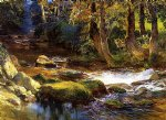 river landscape with deer by frederick arthur bridgeman painting
