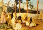 women at the cemetery by frederick arthur bridgeman painting