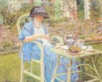 breakfast in the garden by frederick carl frieseke painting