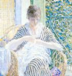 on the balcony by frederick carl frieseke painting