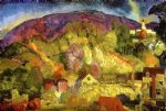 the village on the hill by george bellows painting