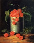 george forster paintings - a pail of raspberries by george forster