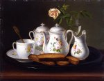 george forster paintings - still life of porcelain and biscuits by george forster