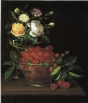 george forster paintings - still life with bowl of raspberries by george forster