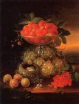 george forster paintings - still life with fruit ad nest of eggs by george forster