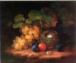 george forster paintings - still life with fruit bird s nest and broken egg by george forster