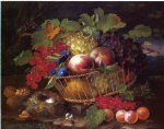 george forster paintings - still life with fruit butterflies and bird s nest by george forster