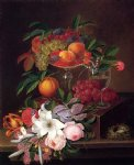 george forster paintings - still life with fruit flowers and bird s nest by george forster