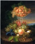george forster paintings - still life with fruit nest of eggs and insects by george forster