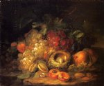 george forster paintings - still life with grapes and peaches by george forster